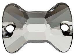 <b>Swarovski 3258</b> 16mm Bow Tie Sew-on Stone <b>Crystal</b> Silver Night