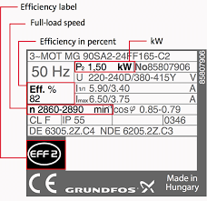 motor efficiency label full load sd efficiency in percent and kw or horsepower
