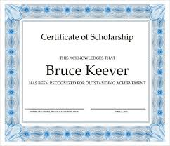 Scholarship Certificate Template Scholarship Certificate Template Free Printable Word
