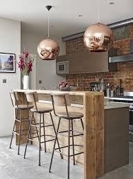 Kitchens:Rustic Kitchen With Rustic Breakfast Bar Table And Vintage Stools  Under Pendant Lamps Adaptable