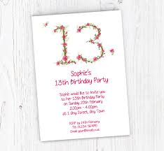 13th Party Invitations Floral 13th Birthday Party Invitations