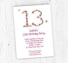 Free 13th Birthday Invitations Floral 13th Birthday Party Invitations