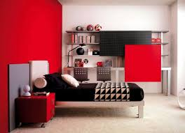 red wall paint black bed: interior bedroom ideas with red and white wall paint and metal single bed using black
