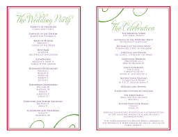 wedding party program templates wedding itinerary templates free wedding reception