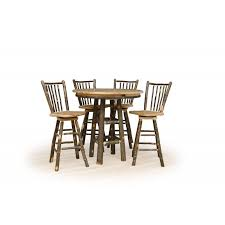 rustic hickory round pub table for 24 or 30