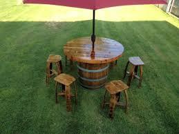 wine barrel outdoor furniture. Custom Made Wine Barrel Umbrella Table Set Outdoor Furniture E
