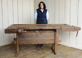 woodworking bench. antique woodworking bench with two vices and storage box c