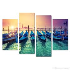 Living Room Canvas Paintings 2017 Modern Canvas Painting Wall Art Fishing Boat In Sunrise