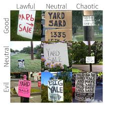 Yard Sale Pricing Chart Garage Sale Signs Alignment Charts Know Your Meme