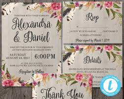Printable Boho Wedding Invitation Template Set Rsvp Details