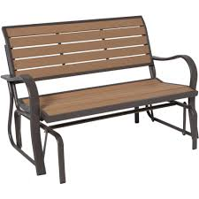 lifetime wood alternative patio glider bench