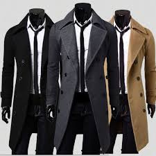 gray winter mens fit stylish trench coat thick double ted long jacket l n