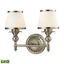 Smithfield  Light LED Vanity In Brushed Nickel And Opal White - Elk bathroom lighting