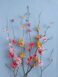 Paper Flower Branches Papercraft Diy Paper Blossom Attached To Branches On Blue