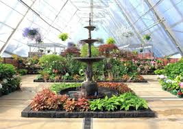 beautiful indoor water fountain and flowers at indoor hot house on display in australia