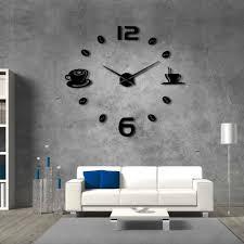 cafe diy large wall clock coffee mug bean 3d giant wall clock wall sticker