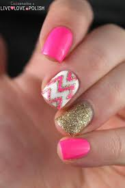 Girlish Pink and Gold Nail Designs With A Glam Touch