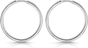 Amberta® <b>925 Sterling Silver</b> Fine Circle Endless Hoops - Polished ...