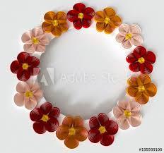 Paper Quilling Flower Bokeh Paper Art Quilling Filigree Red Floral Vignette Wreath Frame