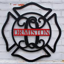 custom monogrammed firefighter s maltese cross door hanger  on maltese cross firefighter metal wall art with custom monogrammed firefighter s maltese cross door hanger metal
