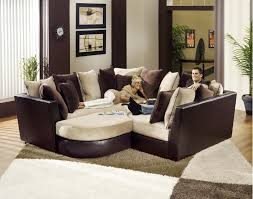 ... Superb Deep Comfy Sectional Sofa For Luxury Table Two Person Lay Their  Body Artistic Paint On ...