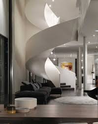 Architecture: Fascinating Spiral Staircase Plans For You, White spiral  staircase with black sofa and