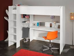 the parisot swan highsleeper bed finished in ice white laminate featuring desk hanging rail and shelving