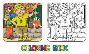 coloring book of funny zoo keeper with parrot stock vector 73487919
