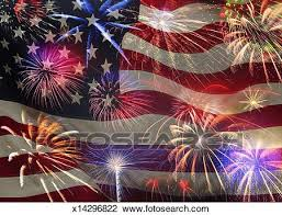 The American Flag And Fireworks Stock Image X14296822