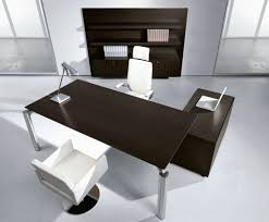 corner stained brown wooden computer desk with beautiful combination wood metal furniture