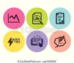 Line Chart Quickstart Guide And Checklist Icons Set Vector