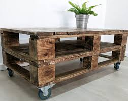 Industrial Pallet Coffee Table LEMMIK in Roast Coffee Finish made of Reclaimed  Pallet Wood, Urban