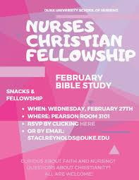 Join Nursing Christian Fellowship At Their Feb Event Duke