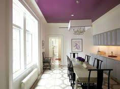Ceiling Paint Ideas Designs for Decorative Ceilings : purple ceiling paint  idea. White walls and purple ceiling dining room interior. ceiling paint, ceiling ...