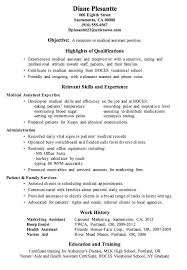 Medical Assistant Resume Objectives Example Of Medical Assistant Resume New Medical Resume Objective 74