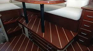 marine vinyl install in yacht wheel house