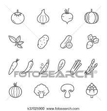 ライン アイコン セット 野菜 クリップアート切り張りイラスト絵画集