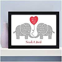 kissing elephants personalised birthday valentines gifts for couples her him