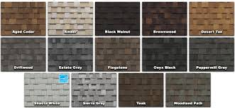 architectural shingles colors. Owens Corning Architectural Shingles Colors From Black Walnut To Woodland Path Also Bright Like Shasta White And Sierra Gray With Amber C