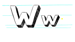 how to draw 3d letters w uppercase w and lowercase w in 90 seconds you
