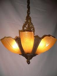 sold antique art deco slip shade chandelier puritan