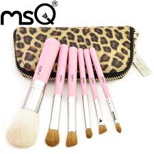 msq professional 6pcs hair makeup brush set with leopard print case china mainland