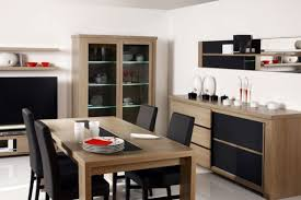 compact furniture for small spaces. Dining Room:Minimalistic Room With Compact Furniture Feat Black Leather Chairs And Sideboard For Small Spaces A