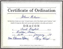 blank ordination certificates baptist deacon ordination certificate template sham store