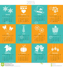 Monthly Calendar For 2015 Stock Vector Illustration Of