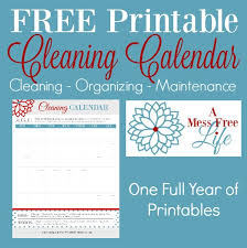 The Cleaning Organizing Home Maintenance Calendar Free Printable