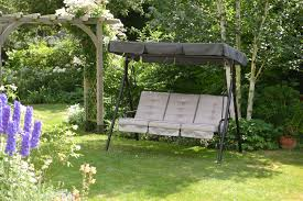 garden swing seat cushions uk. quality 3 seater garden swing seat hammock with deep cushions adjustable canopy uk