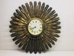 mid century syroco starburst wall clock