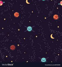 Pattern Universe Cool Universe With Planets And Stars Seamless Pattern Vector Image