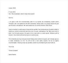 Recommendation Letter For Student Scholarship Letter Of Recommendation For High School Student Scholarship